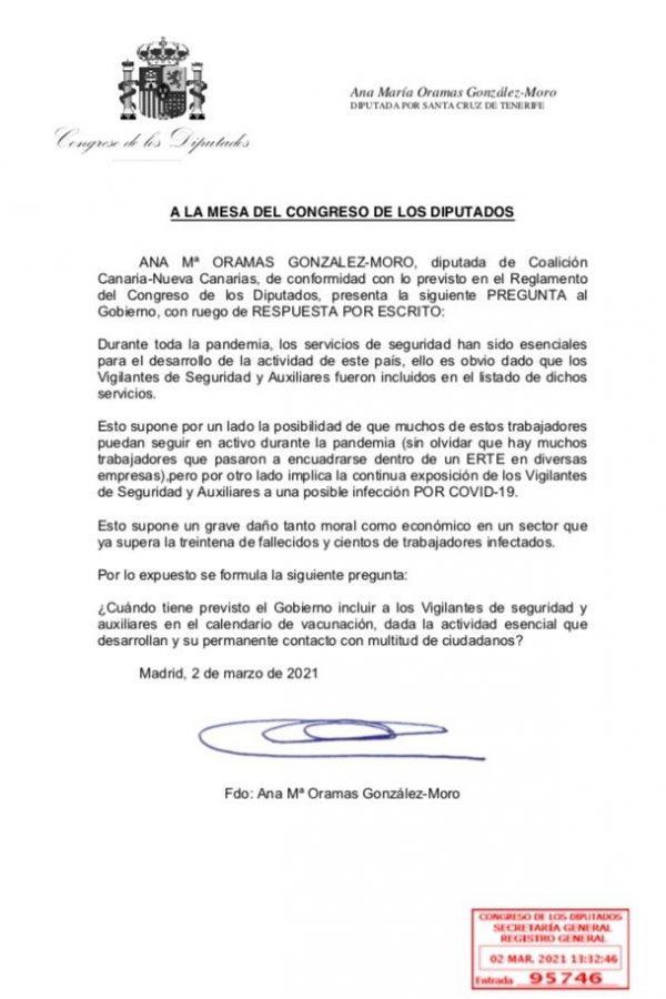 A LA MESA DEL CONGRESO DE LOS DIPUTADOS